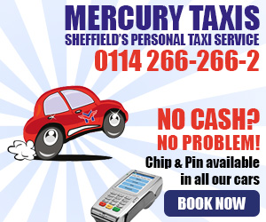 Advertisement - Mercury Taxis, Sheffield's personal taxi service, tel. 0114-266-266-2 or click for more details